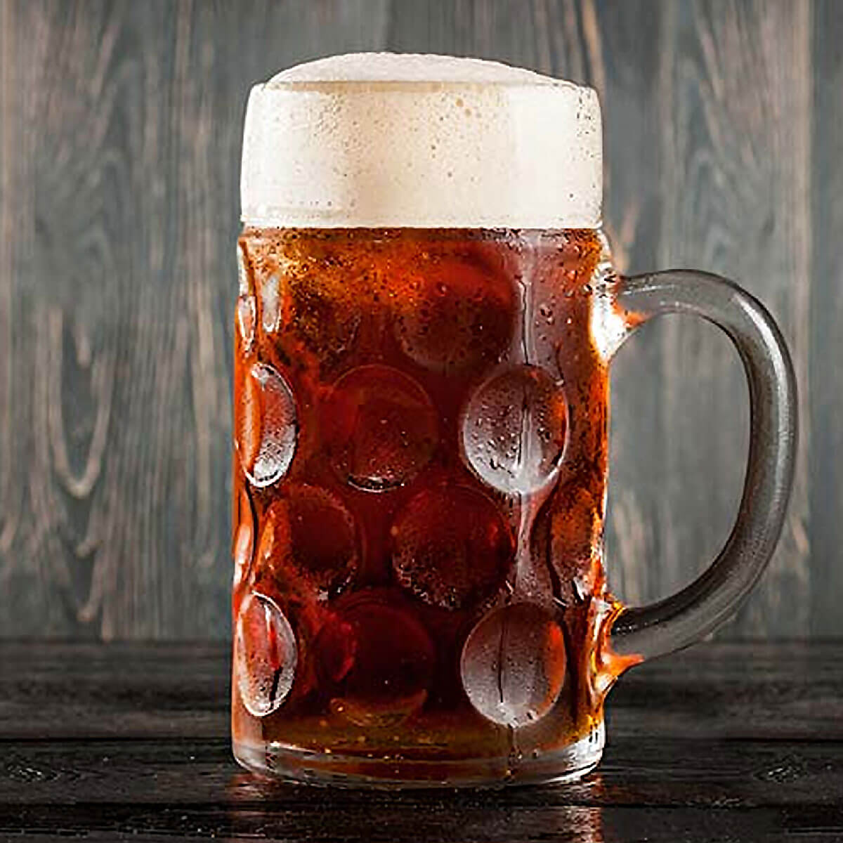 A German Märzen in a Dimpled Mug