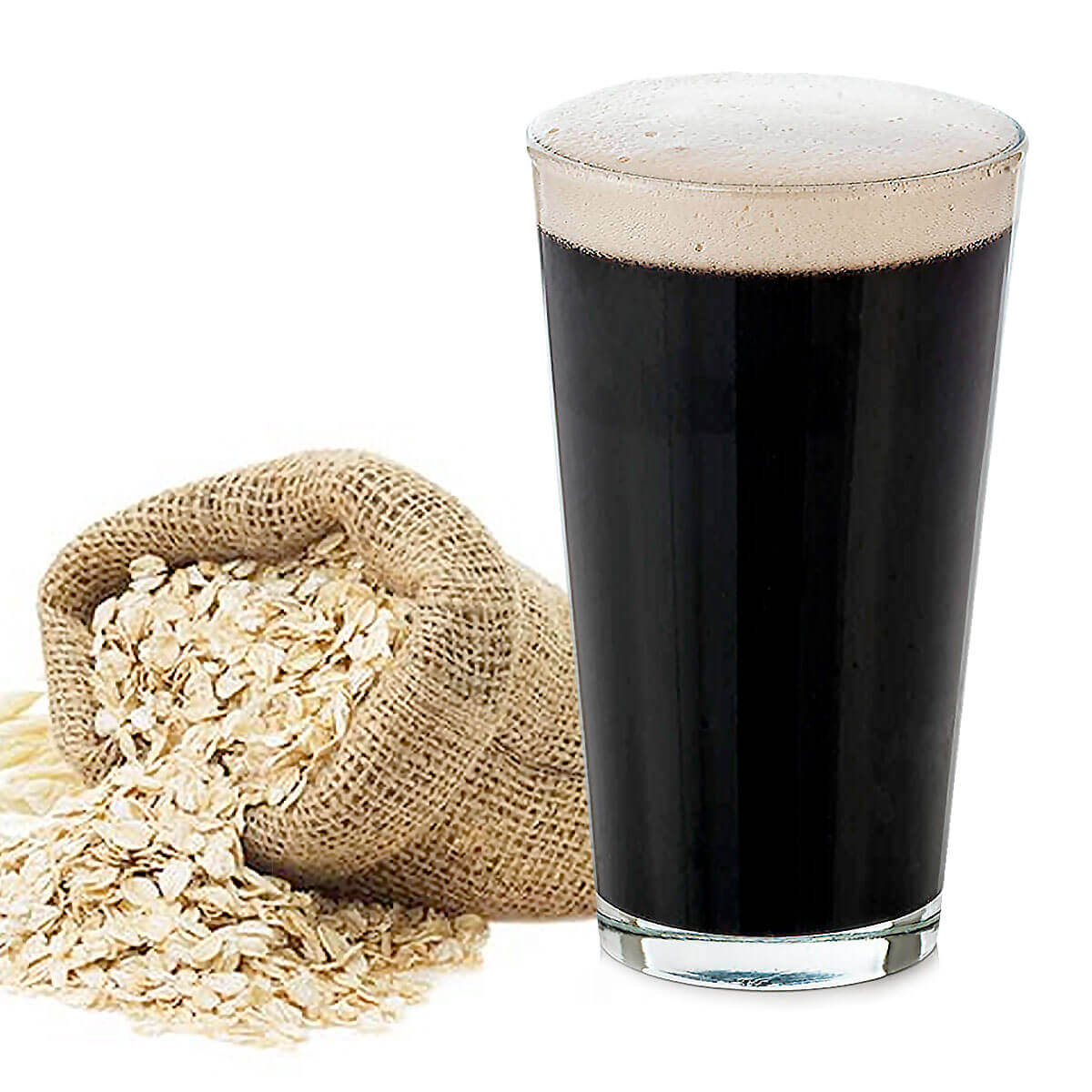 An English Oatmeal Stout in a Shaker Pint Glass