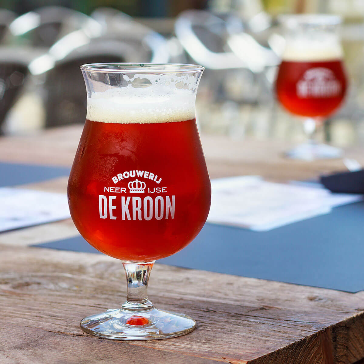 Flanders Red Ale in De Kroon Branded Tulip Glass