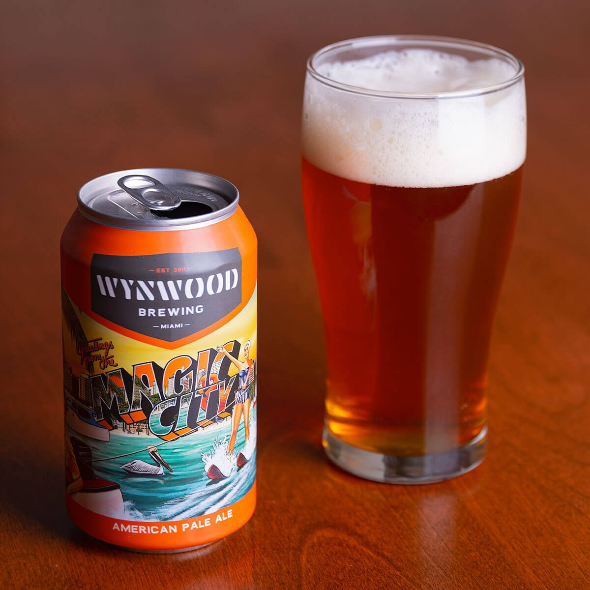 Magic City is an American Pale Ale by Wynwood Brewing Company whose orange-flavored, balanced palate features double-dry-hopped Mosaic.