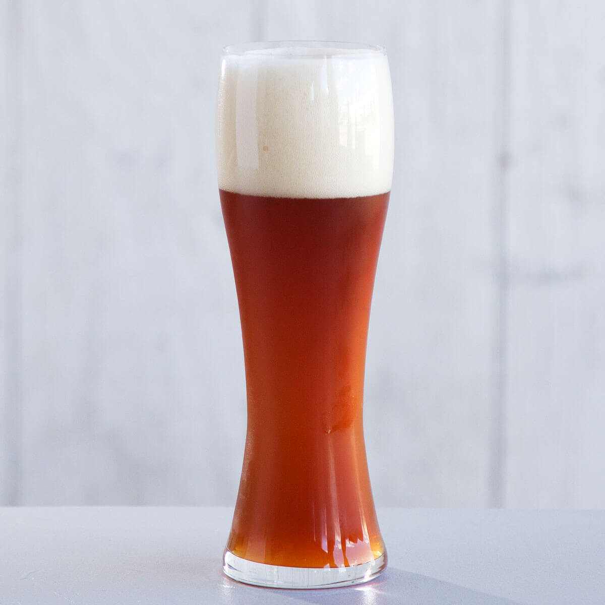 A German Dunkelweizen in a Weizen Glass